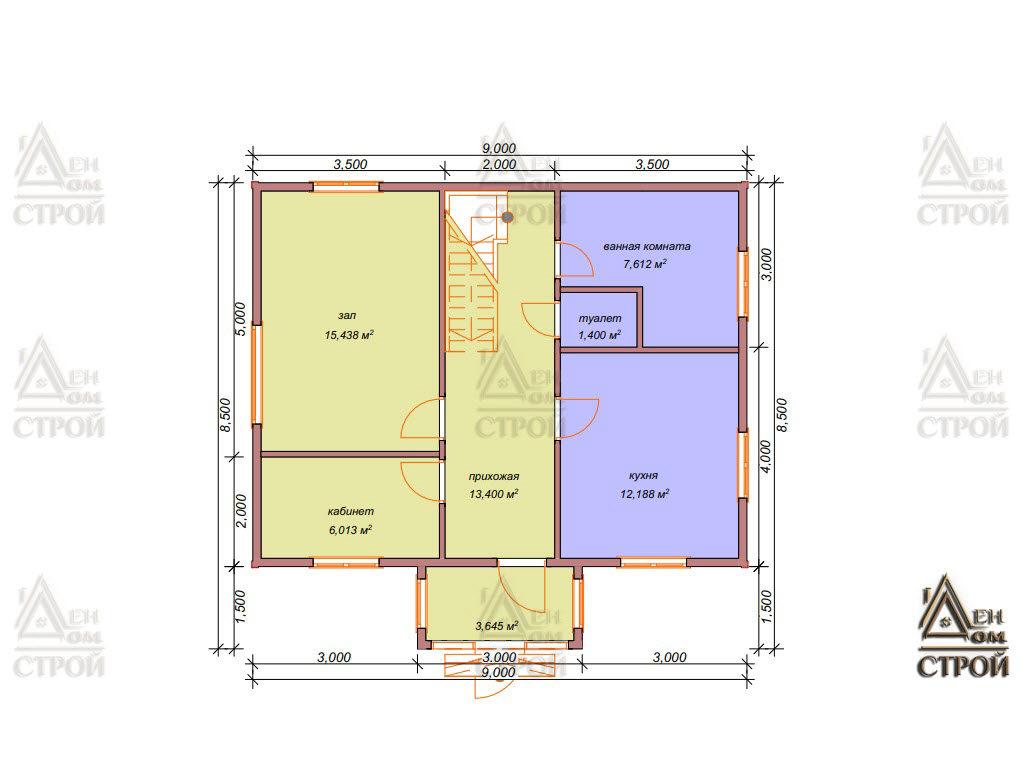 Проект дома из бруса 9x8,5 с мансардой купить в Санкт-Петербурге