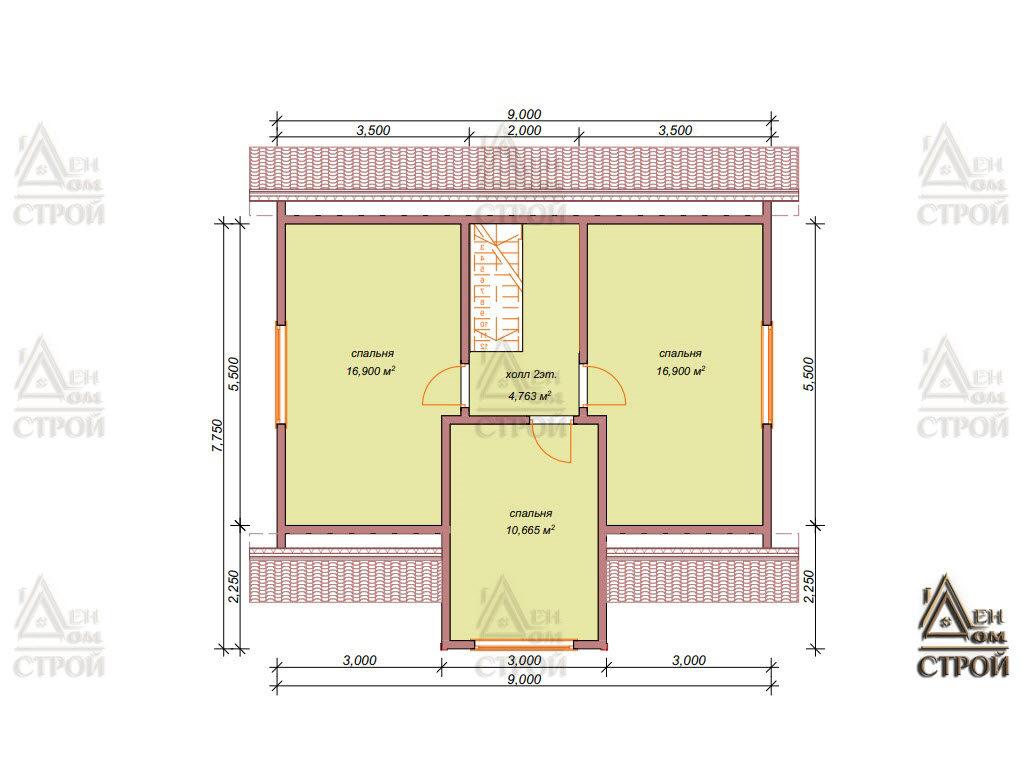 План дома из бруса 9x8,5 с мансардой купить в Санкт-Петербурге