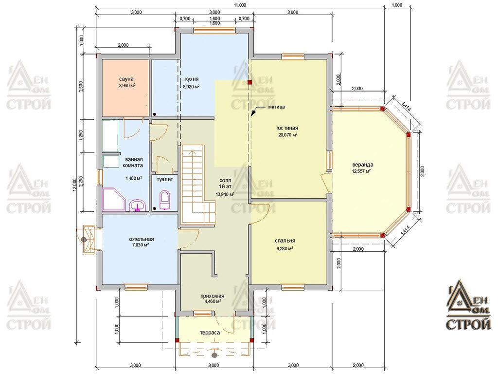 Проект дома из бруса 9х9 двухэтажный купить в Санкт-Петербург и Лен. обл