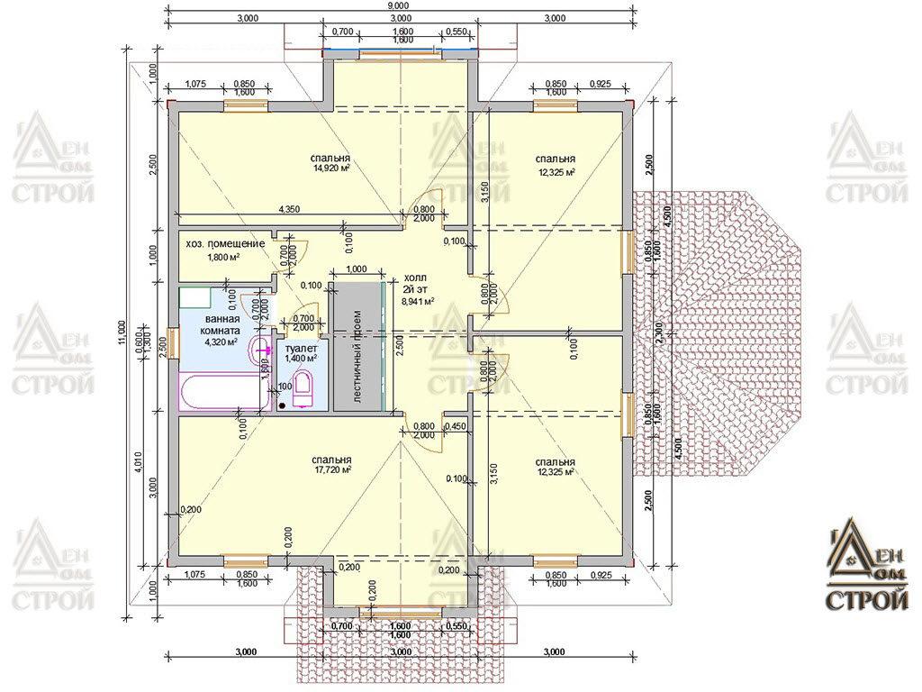 План дома из бруса 9х9 двухэтажный купить в Санкт-Петербург и Лен. обл