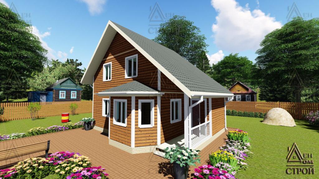 Дом из бруса полутораэтажный 7x8,5 купить в Санкт-Петербурге и Лен обл