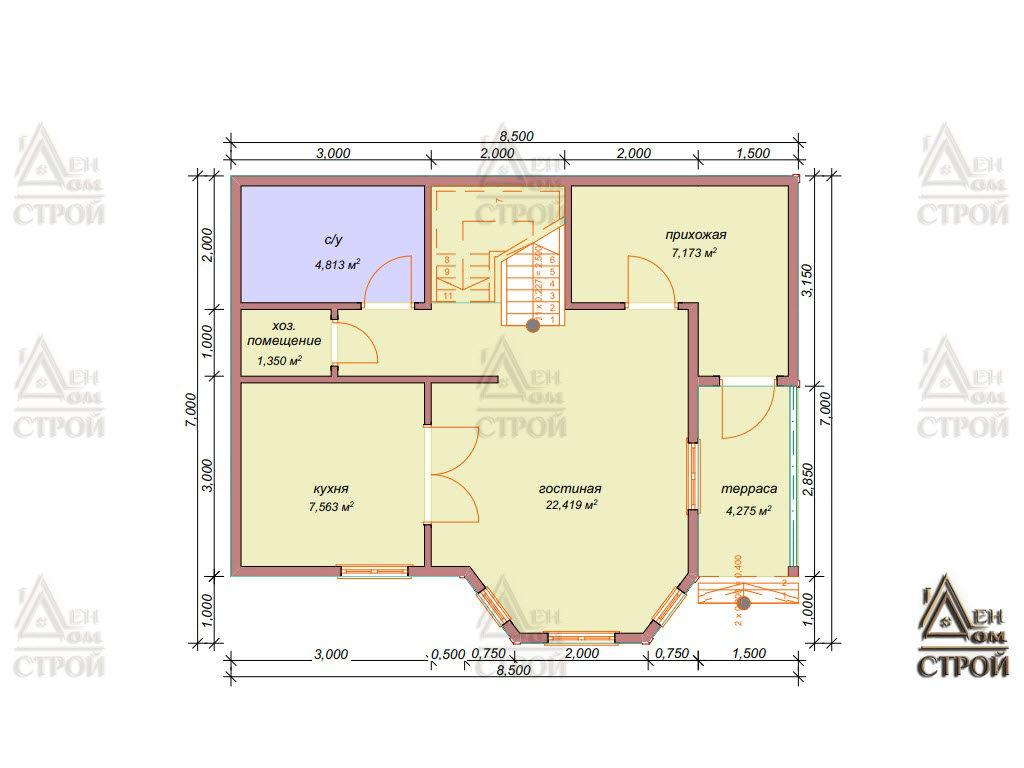 Планировка дома из бруса полутораэтажного 7x8,5 купить в Санкт-Петербурге и Лен обл