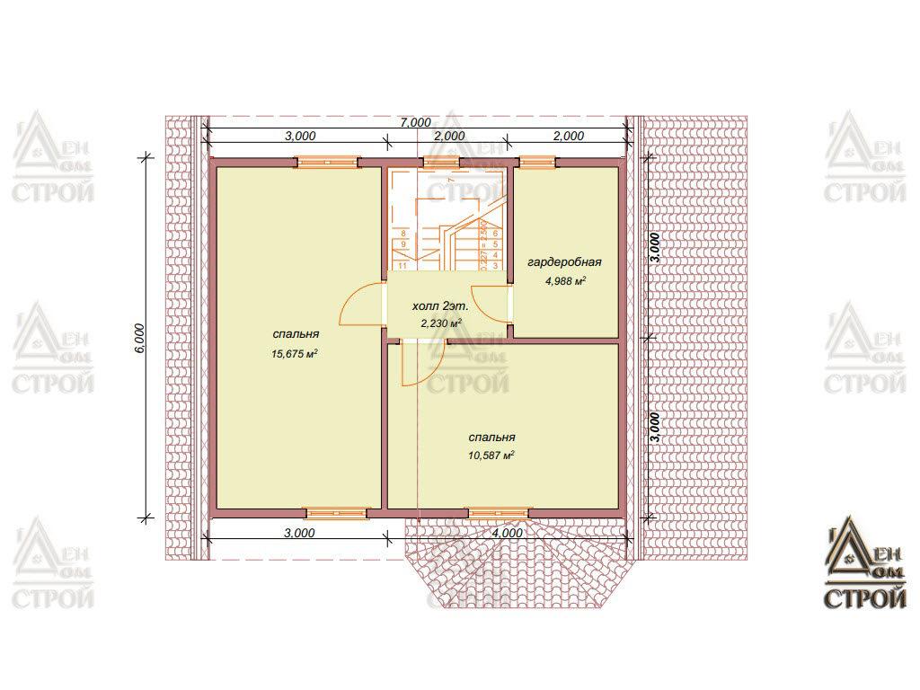 Проект дома из бруса полутораэтажного 7x8,5 купить в Санкт-Петербурге и Лен обл