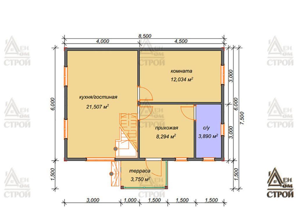 Проект дома из бруса с мансардой 6x8,5 купить в Санкт-Петербурге