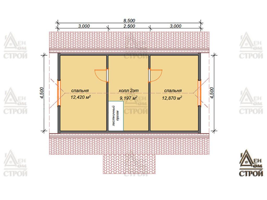 Планировка дома из бруса с мансардой 6x8,5 купить в Санкт-Петербурге
