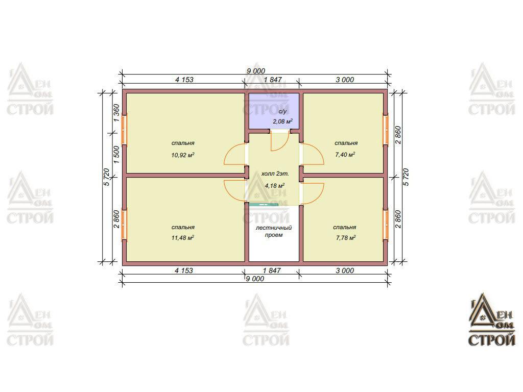 План дома из бруса с мансардой 7х9 купить в Санкт-Петербурге