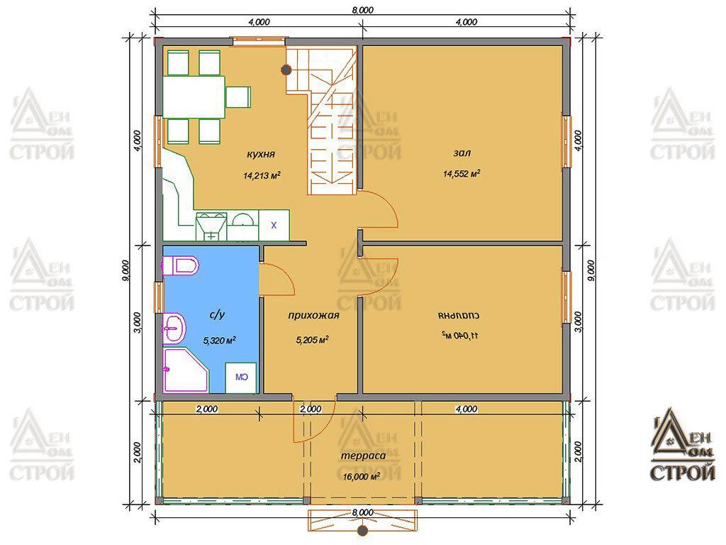 Проект дома из бруса с мансардой 8х9 купить в Санкт-Петербурге