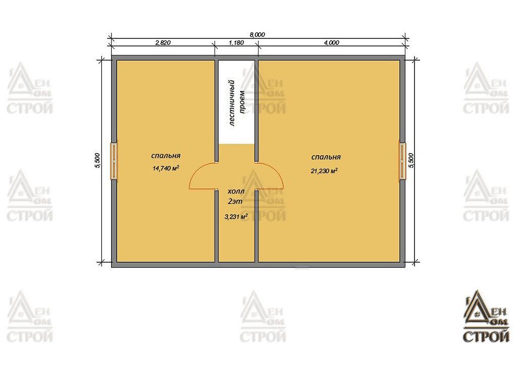 План дома из бруса с мансардой 8х9 купить в Санкт-Петербурге