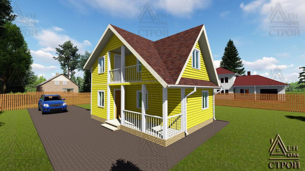 Дом полутораэтажный 6×8 каркасный