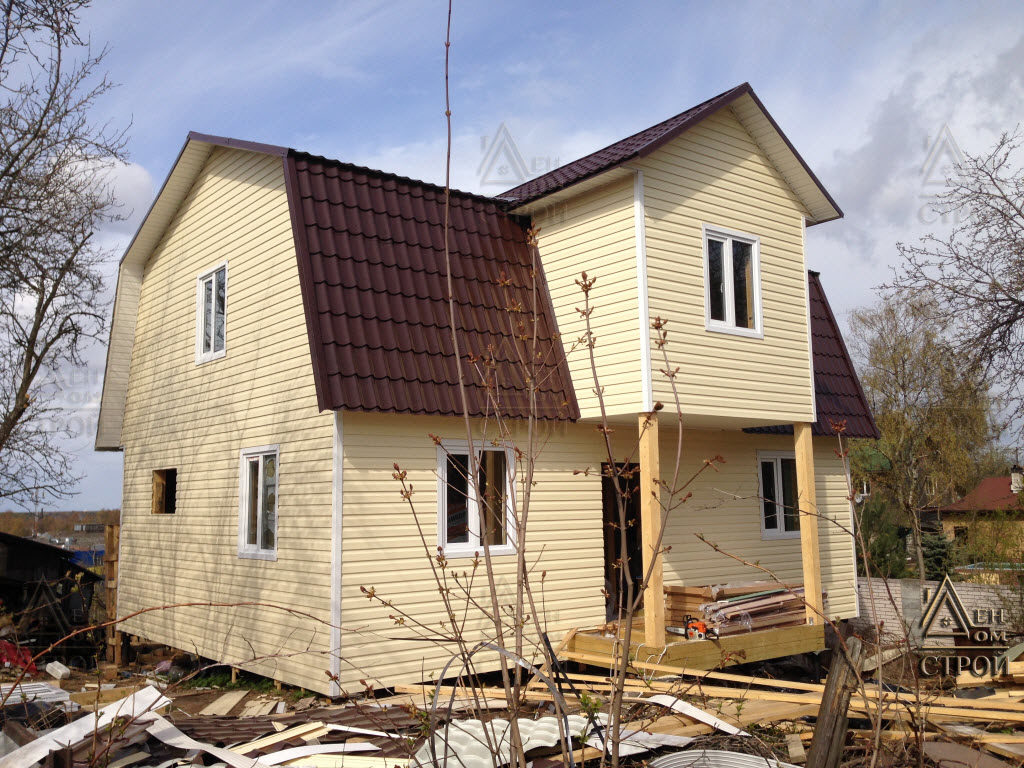 Каркасный дом 9х8,5 с мансардой в санкт-петербурге