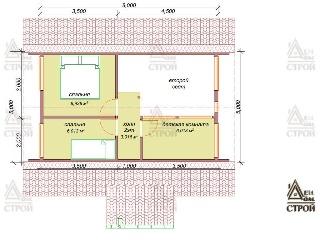 План каркасного дома 7х8 со вторым светом в Санкт-Петербург