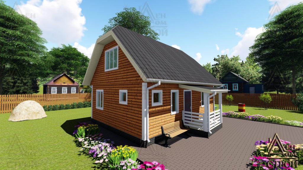 Каркасный дом 6×8.5 с мансардой