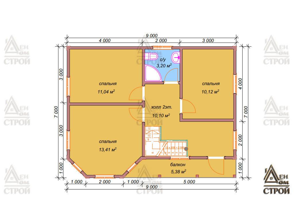 План каркасного дома 7 на 9