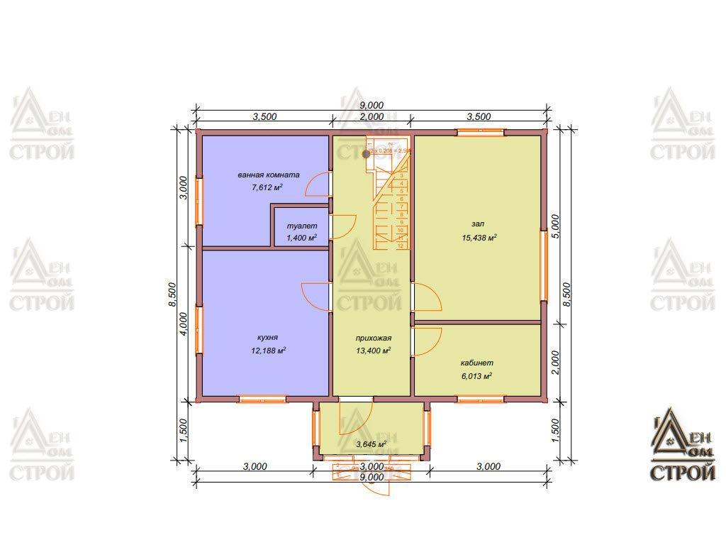 Проект каркасного дома 9 на 8,5 с мансардой в спб