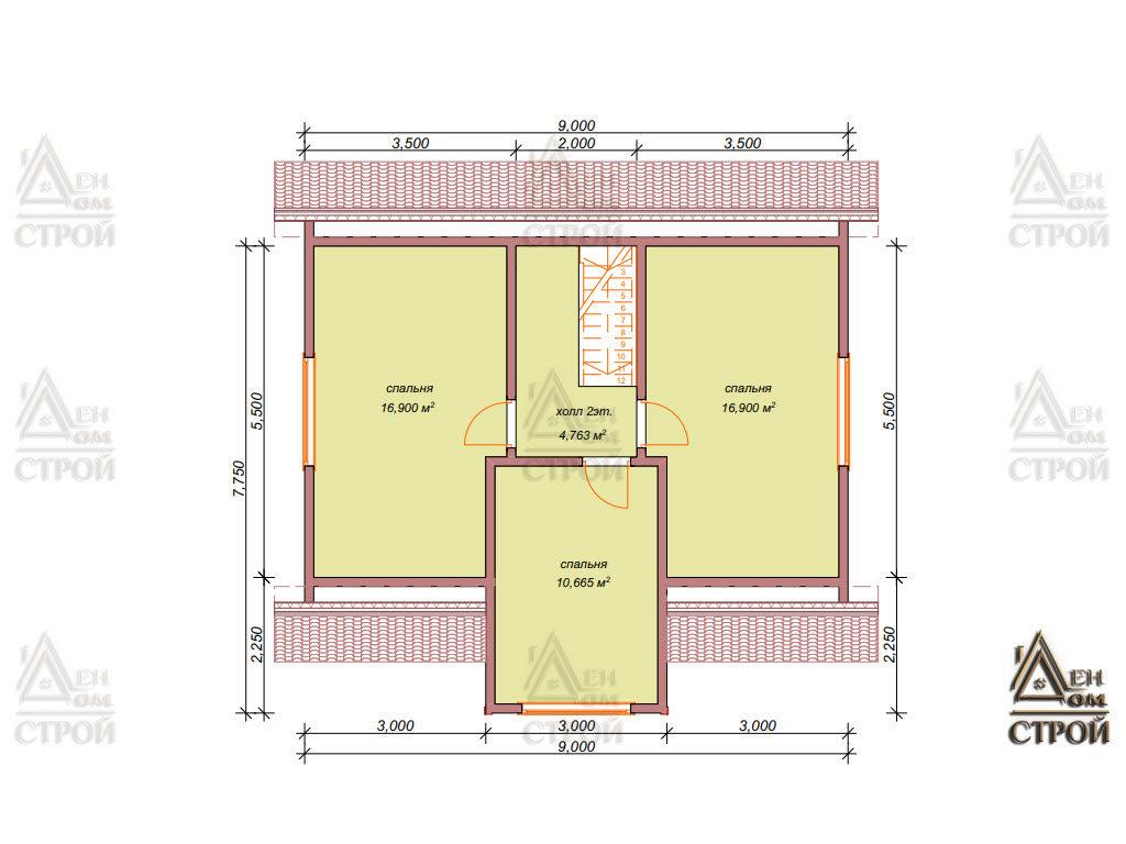 План каркасного дома 9 на 8,5 с мансардой в спб