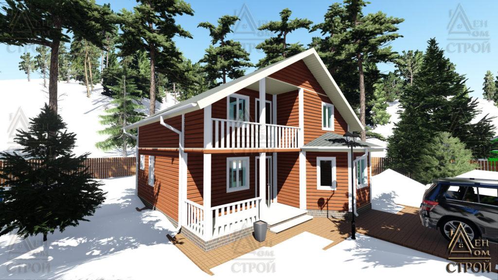 Каркасный дом 9х9 полутораэтажный в спб