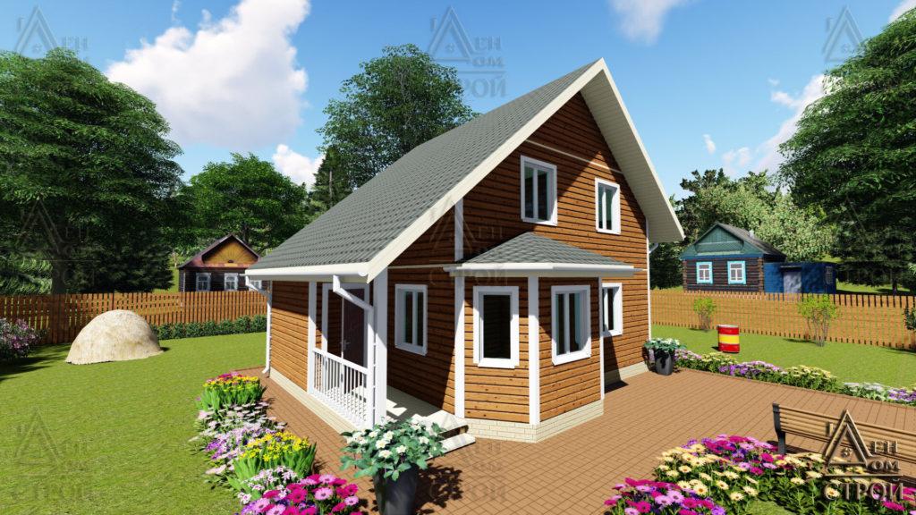 Купить каркасный дом полутораэтажный 7х8,5