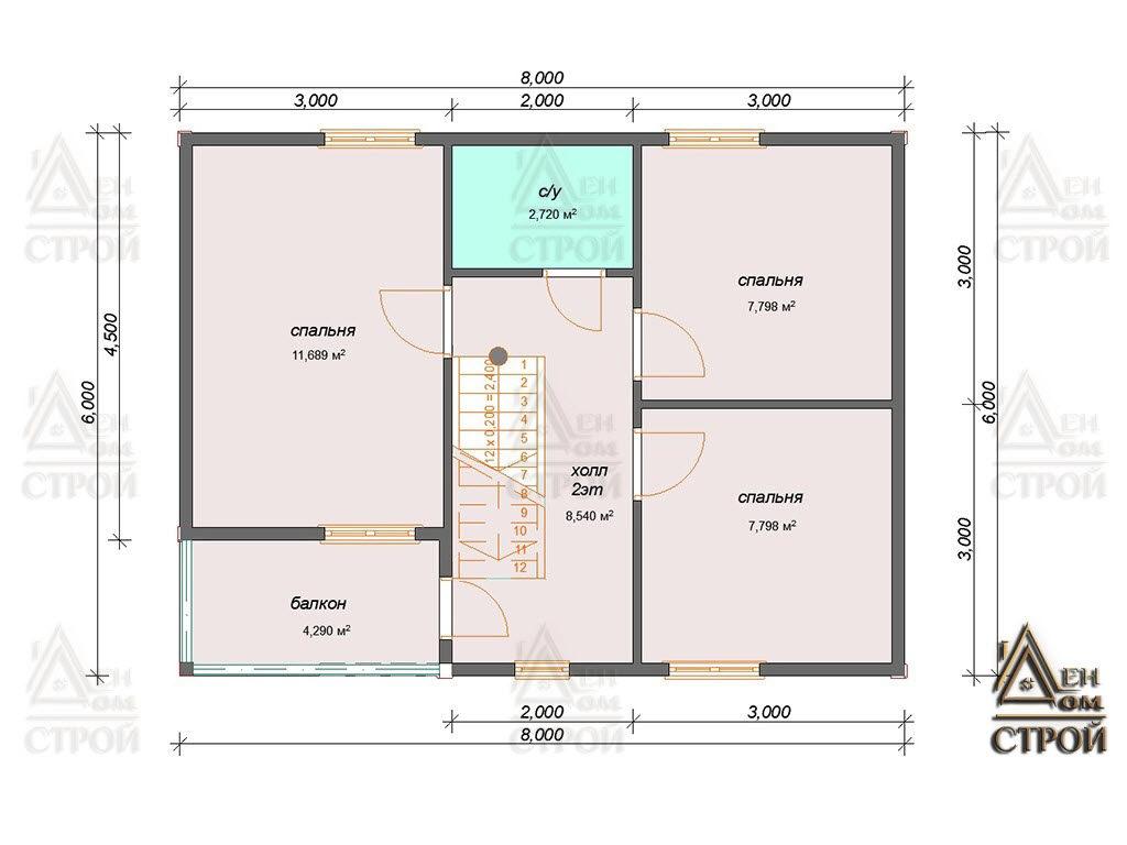 План каркасного дома 6 на 8 двухэтажного