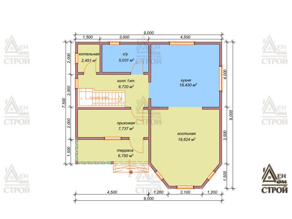 Каркасный дом 9 на 9 полутораэтажный планировка