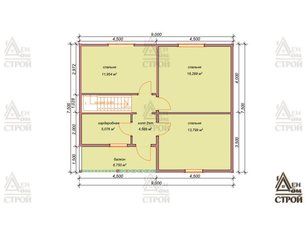 Каркасный дом 9 на 9 полутораэтажный проект