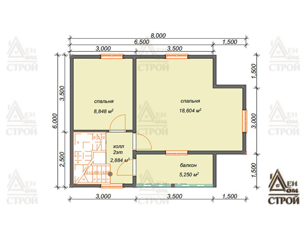 Проект дома полутораэтажного 6×8 каркасного