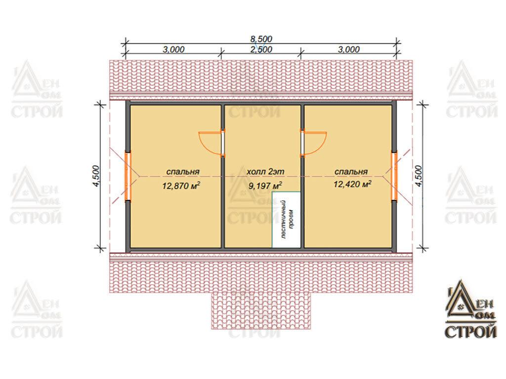 Проект каркасного дома 6х8.5 с мансардой - 2этаж