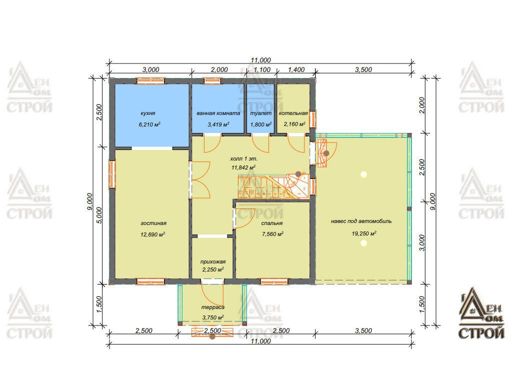 Проект каркасного дома 7,5 на 7,5 двухэтажного