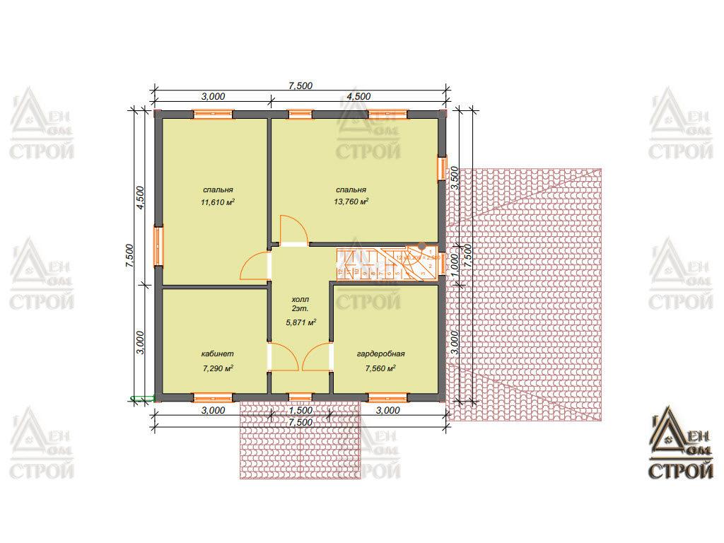 Планировка каркасного дома 7,5 на 7,5 двухэтажного