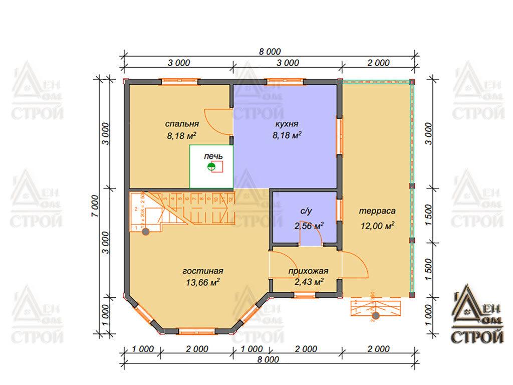 Проект дома 7х8 каркасного