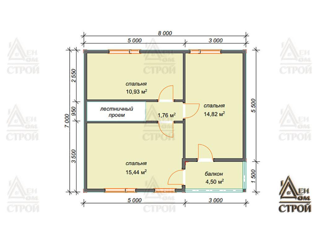 Проект каркасного дома 8x8.5 полутораэтажного