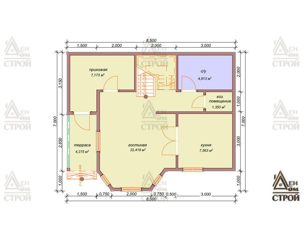 Проект каркасного дома 7х8.5