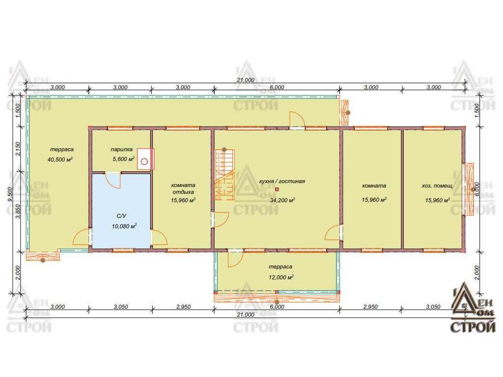 План каркасного дома 6 х 18