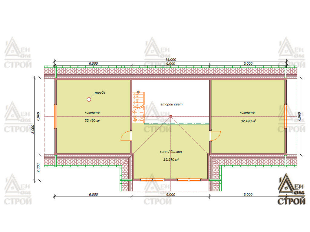Планировка каркасного дома 6 х 18